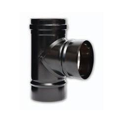 """Raccordo braga a """"T"""" 90° ridotta per stufe a pellet inox verniciato nero monoparete"""