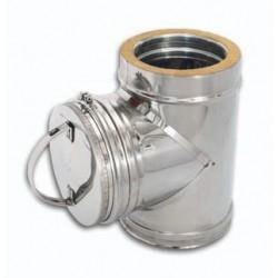 Tubo ispezione con tappo acciaio inox doppia parete - Lunghezza 500mm