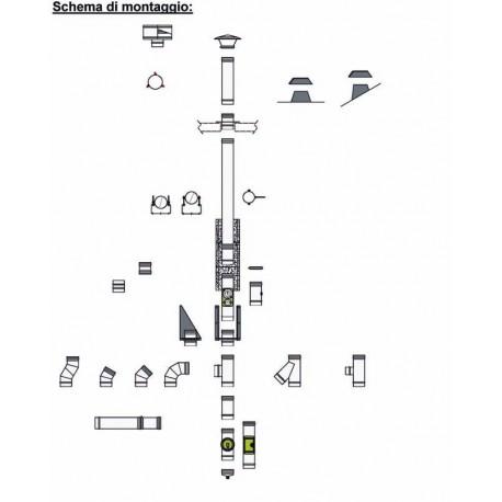 Kit tubi canna fumaria doppia parete 4,5 metri - monoutenza