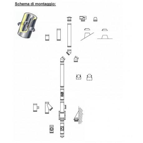 Kit tubi installazione montaggio canna fumaria doppia parete 3,5 metri - monoutenza