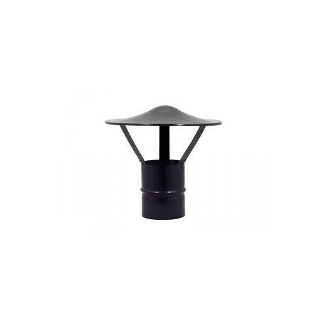 Terminale cappello cinese per stufe a pellet inox verniciato nero monoparete